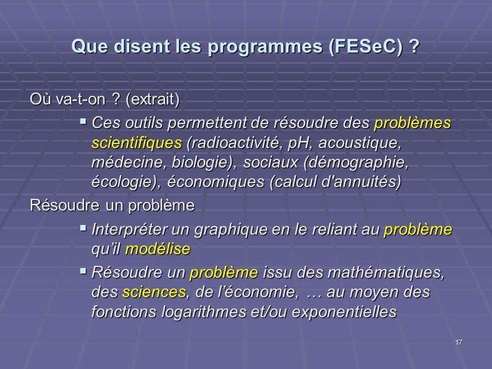 Que disent les programmes (FESeC) ? Où va-t-on ? (extrait) Ces outils permettent de résoudre des problèmes scientifiques (radioactivité, pH, acoustiqu