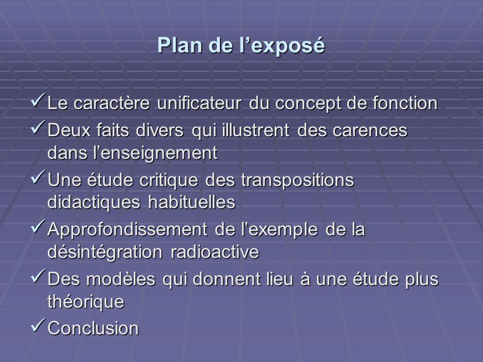 Plan de lexposé Le caractère unificateur du concept de fonction Le caractère unificateur du concept de fonction Deux faits divers qui illustrent des c