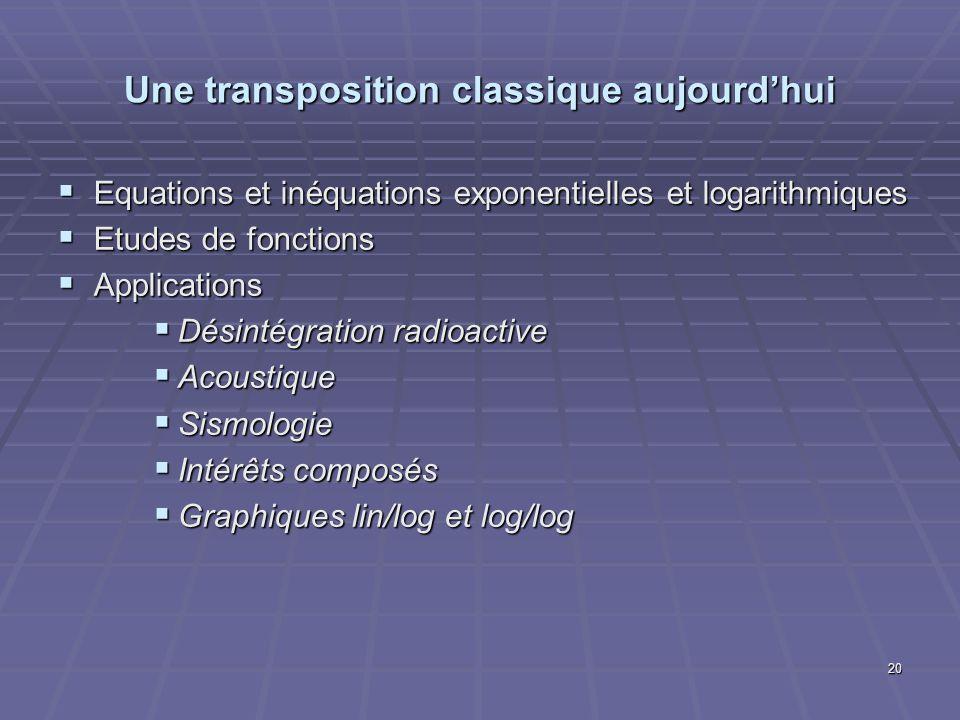 Une transposition classique aujourdhui Equations et inéquations exponentielles et logarithmiques Equations et inéquations exponentielles et logarithmi