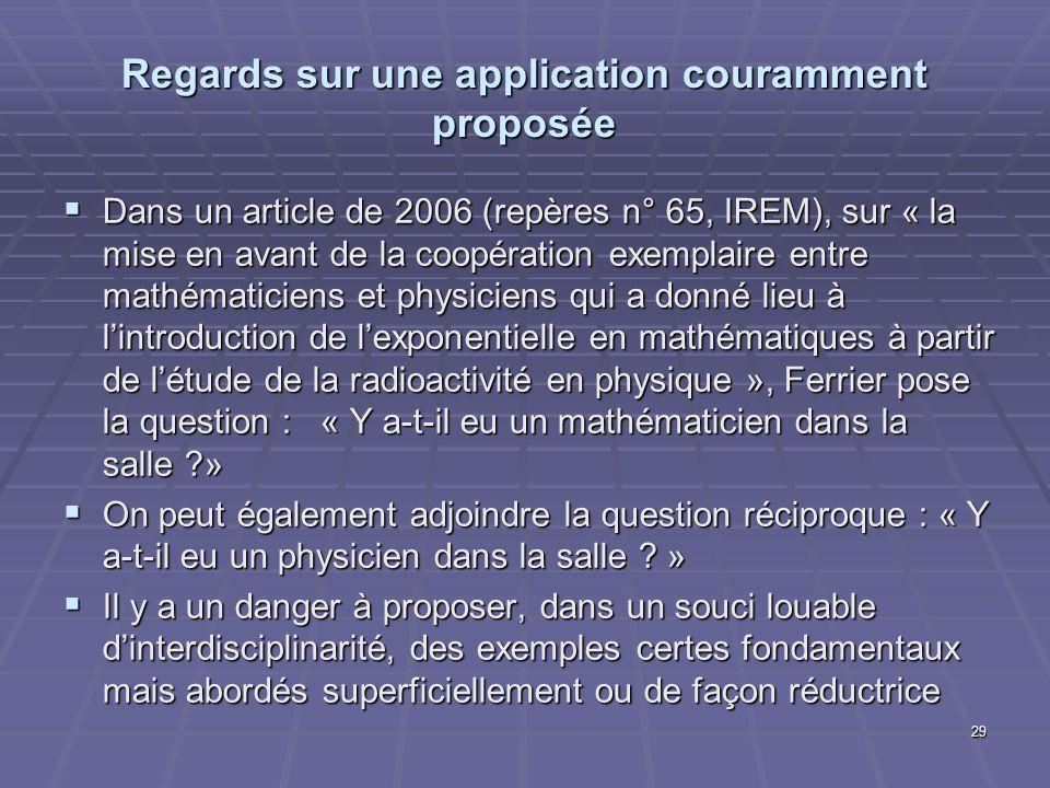 Regards sur une application couramment proposée Dans un article de 2006 (repères n° 65, IREM), sur « la mise en avant de la coopération exemplaire ent