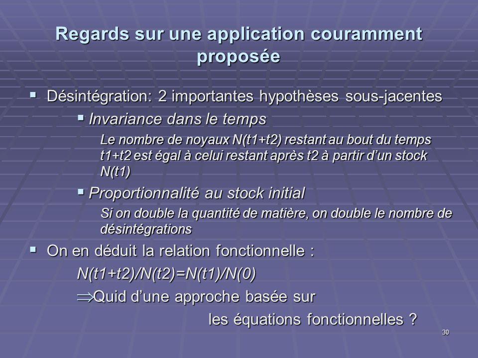 Regards sur une application couramment proposée Désintégration: 2 importantes hypothèses sous-jacentes Désintégration: 2 importantes hypothèses sous-j