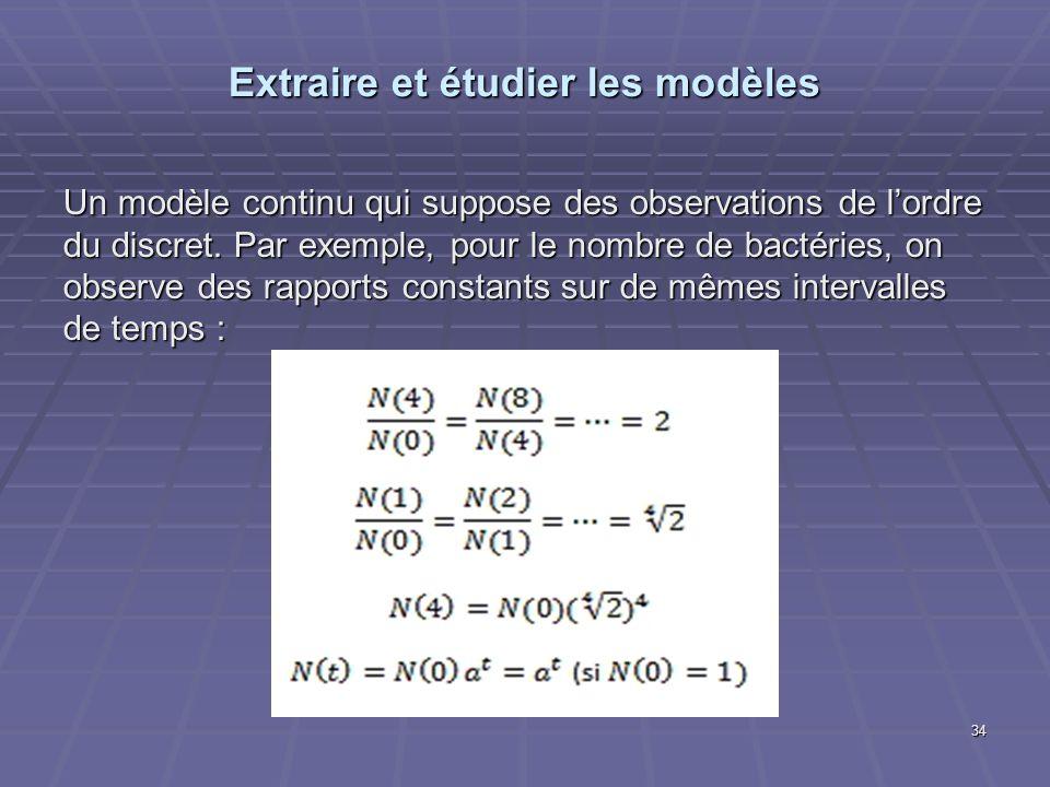Extraire et étudier les modèles Un modèle continu qui suppose des observations de lordre du discret. Par exemple, pour le nombre de bactéries, on obse