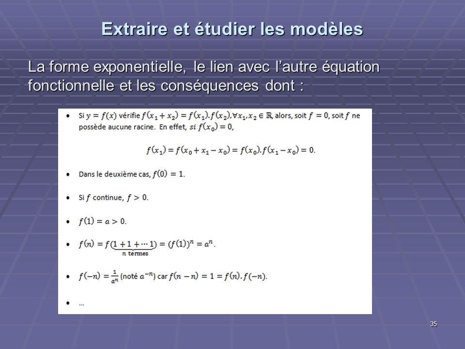 Extraire et étudier les modèles La forme exponentielle, le lien avec lautre équation fonctionnelle et les conséquences dont : 35