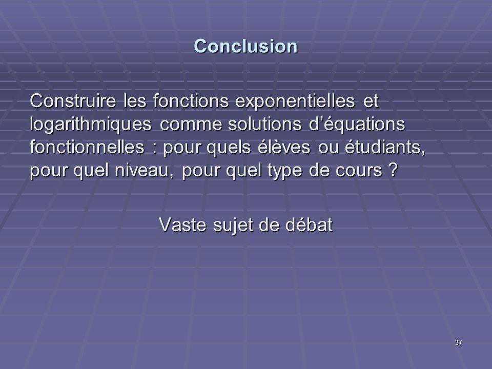Conclusion Construire les fonctions exponentielles et logarithmiques comme solutions déquations fonctionnelles : pour quels élèves ou étudiants, pour