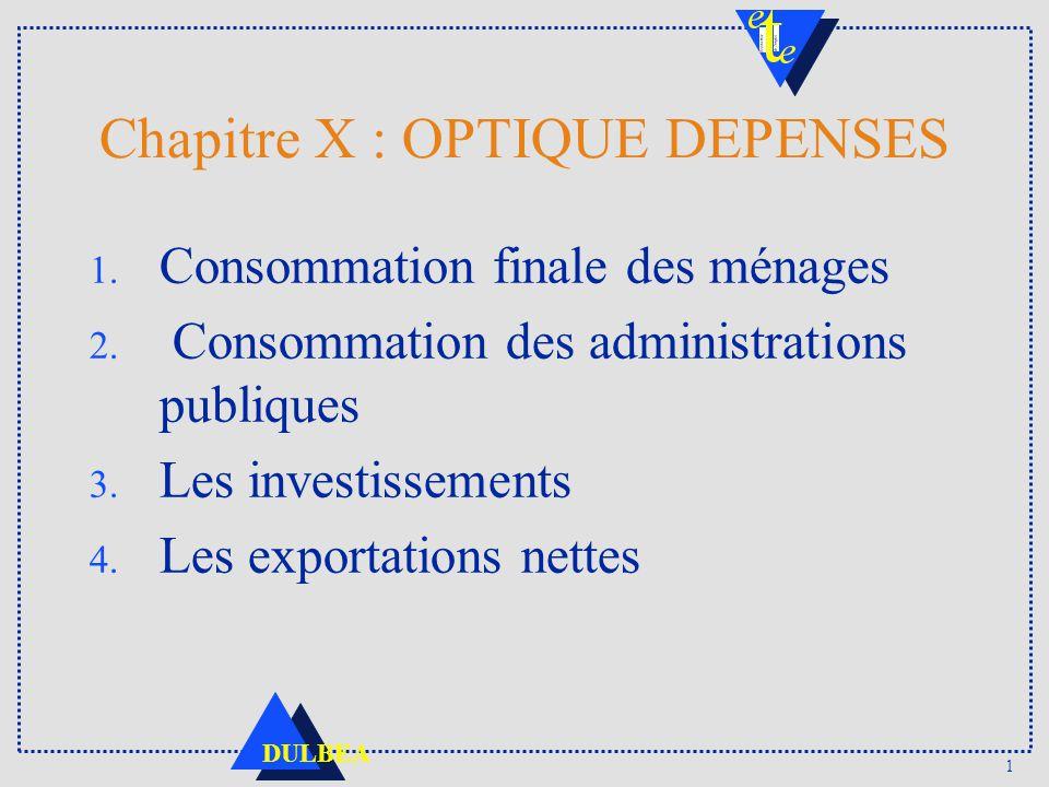 1 DULBEA Chapitre X : OPTIQUE DEPENSES 1. Consommation finale des ménages 2. Consommation des administrations publiques 3. Les investissements 4. Les