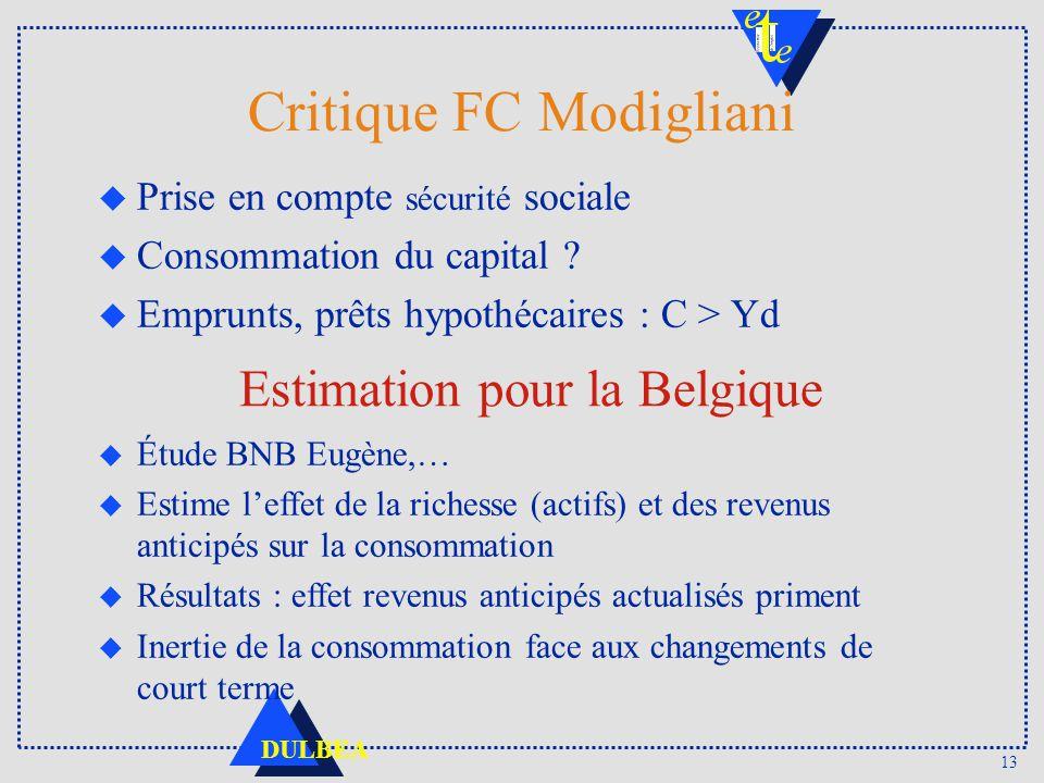 13 DULBEA Critique FC Modigliani u Prise en compte sécurité sociale u Consommation du capital ? u Emprunts, prêts hypothécaires : C > Yd Estimation po