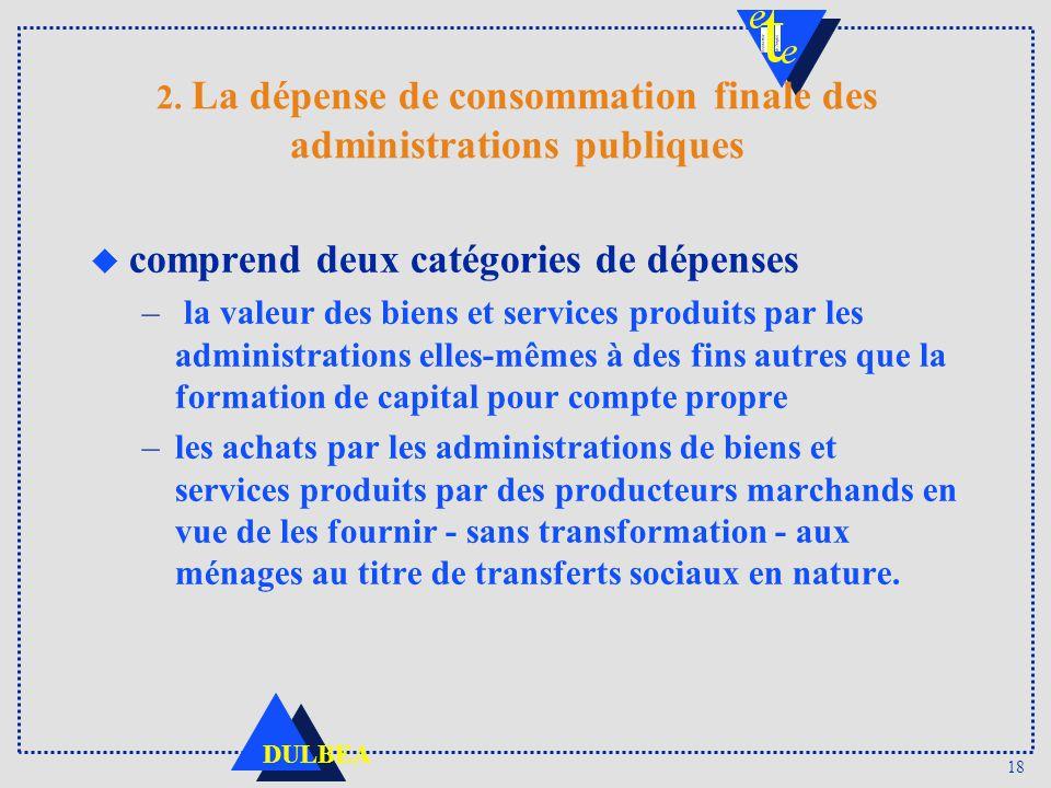 18 DULBEA 2. La dépense de consommation finale des administrations publiques u comprend deux catégories de dépenses – la valeur des biens et services