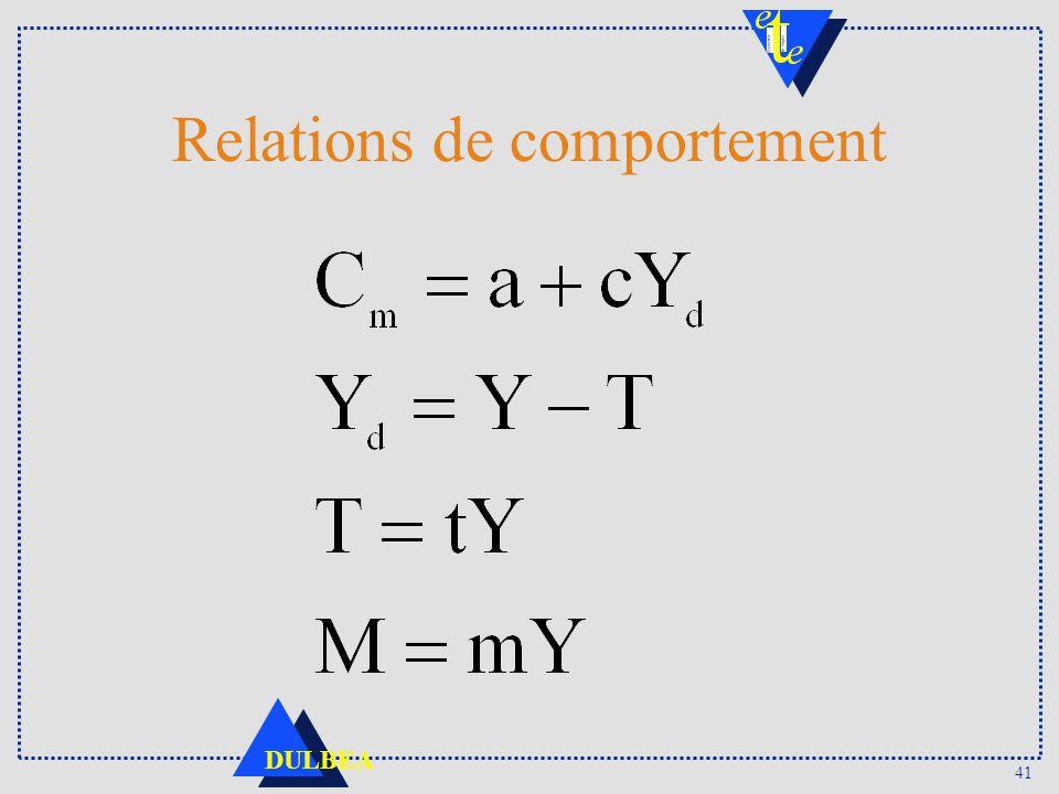 41 DULBEA Relations de comportement