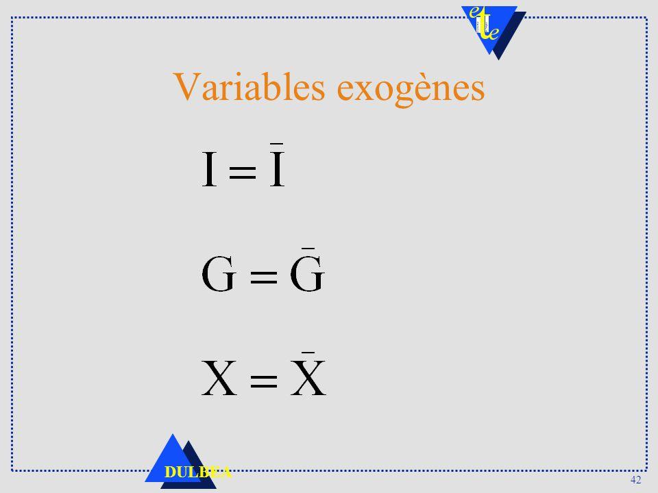 42 DULBEA Variables exogènes
