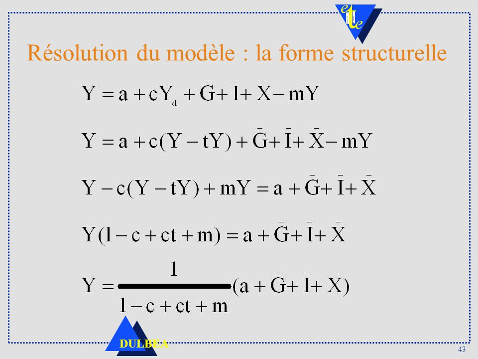 43 DULBEA Résolution du modèle : la forme structurelle
