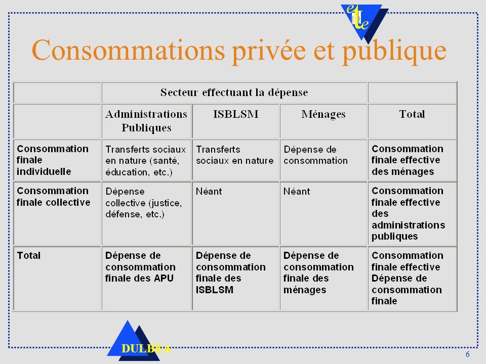 6 DULBEA Consommations privée et publique
