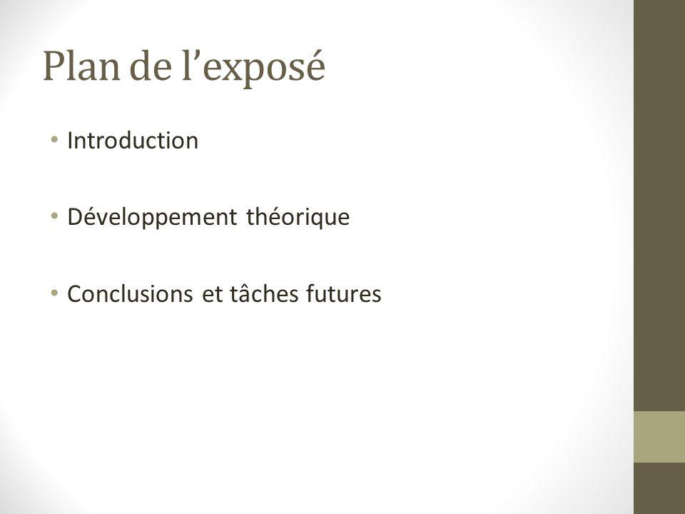 Plan de lexposé Introduction Développement théorique Conclusions et tâches futures