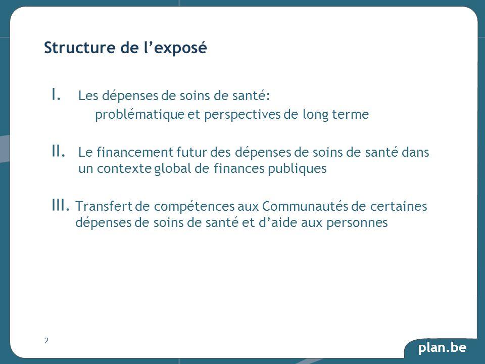 plan.be I. Les dépenses de soins de santé: problématique et perspectives de long terme II.