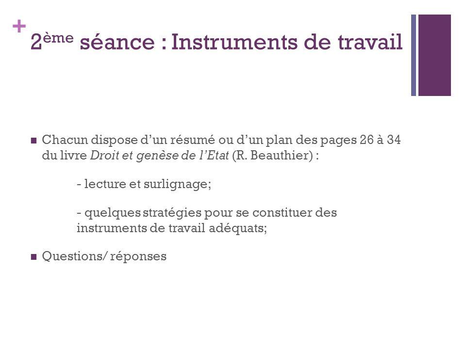 + 2 ème séance : Instruments de travail Chacun dispose dun résumé ou dun plan des pages 26 à 34 du livre Droit et genèse de lEtat (R.