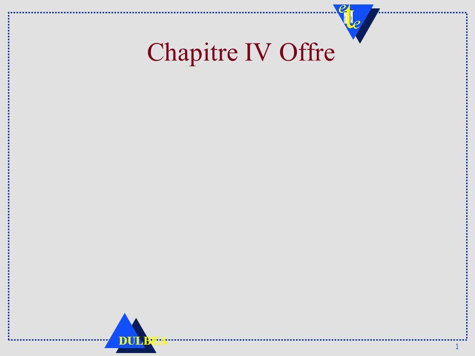 1 DULBEA Chapitre IV Offre