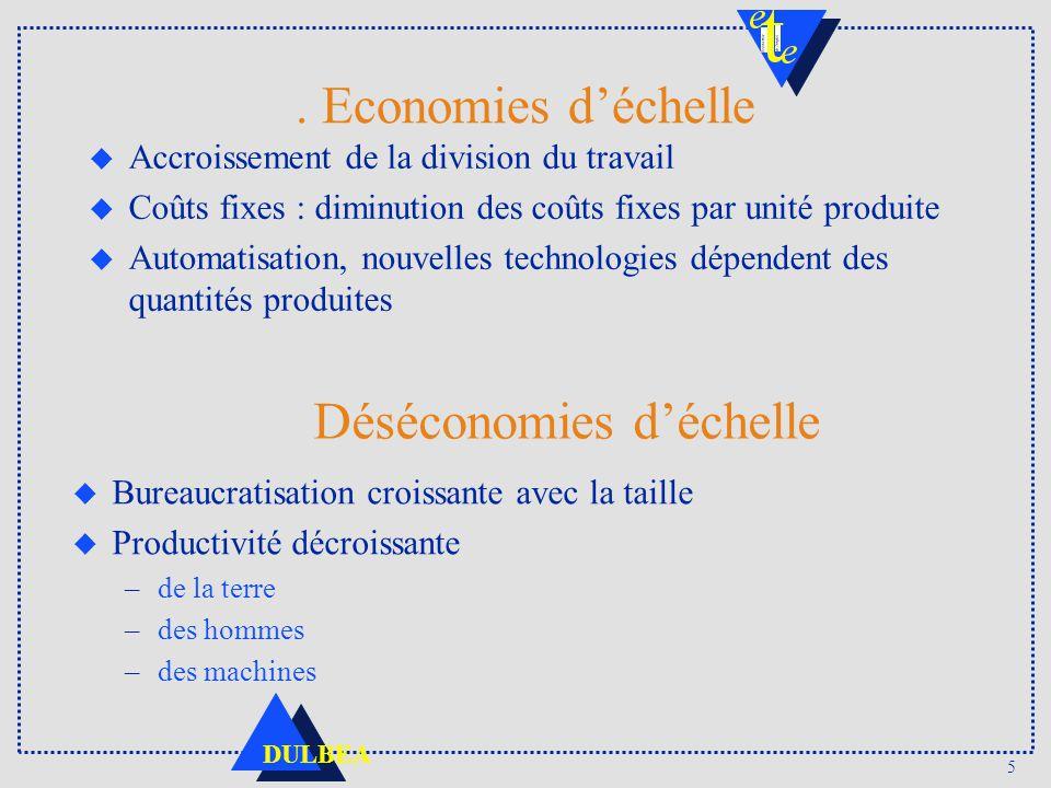 5 DULBEA. Economies déchelle u Accroissement de la division du travail u Coûts fixes : diminution des coûts fixes par unité produite u Automatisation,