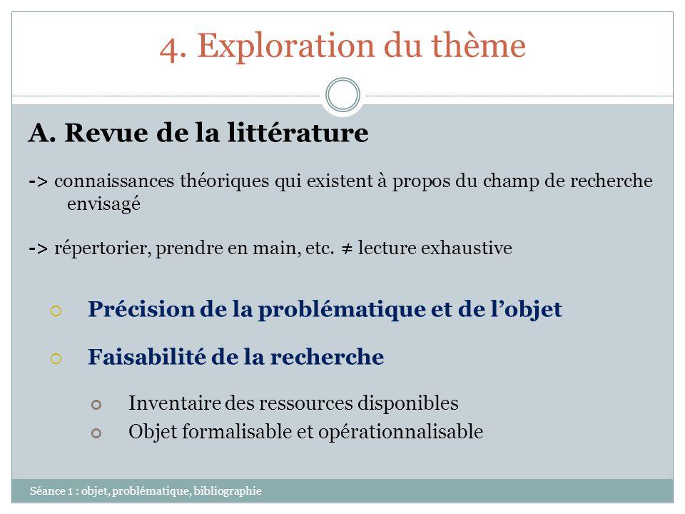 4. Exploration du thème Séance 1 : objet, problématique, bibliographie A. Revue de la littérature -> connaissances théoriques qui existent à propos du