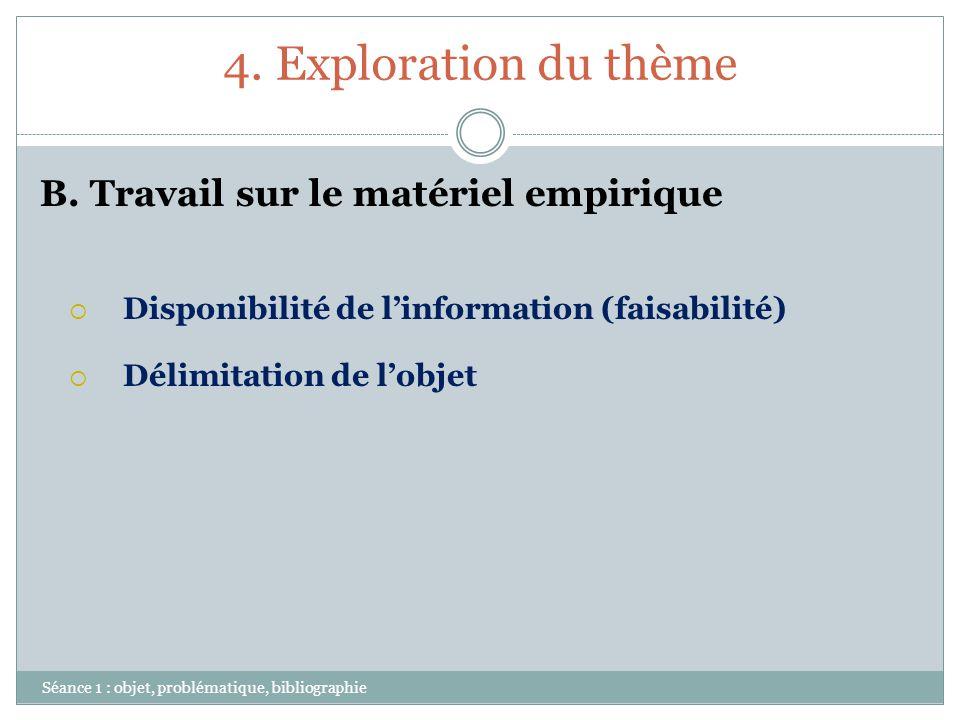 4. Exploration du thème Séance 1 : objet, problématique, bibliographie B. Travail sur le matériel empirique Disponibilité de linformation (faisabilité