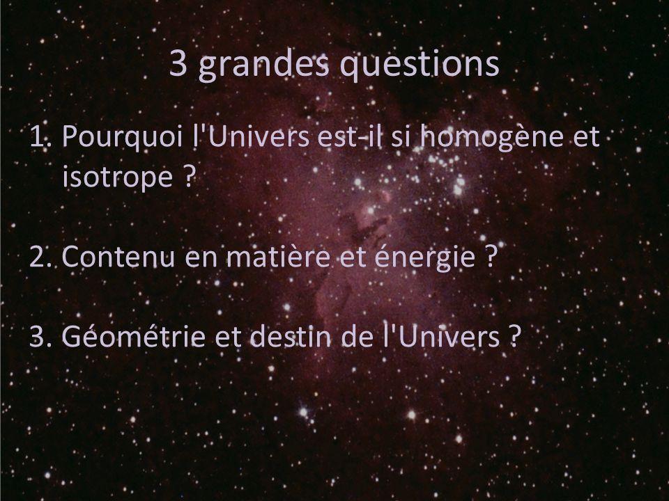 3 grandes questions 1. Pourquoi l'Univers est-il si homogène et isotrope ? 2. Contenu en matière et énergie ? 3. Géométrie et destin de l'Univers ?