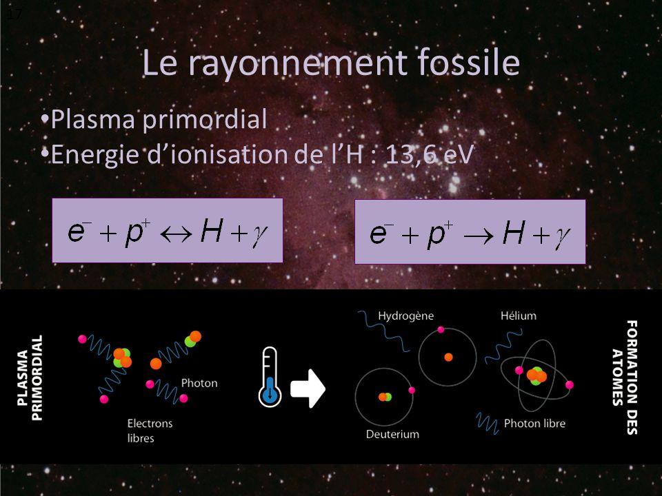 Le rayonnement fossile Plasma primordial Energie dionisation de lH : 13,6 eV 17