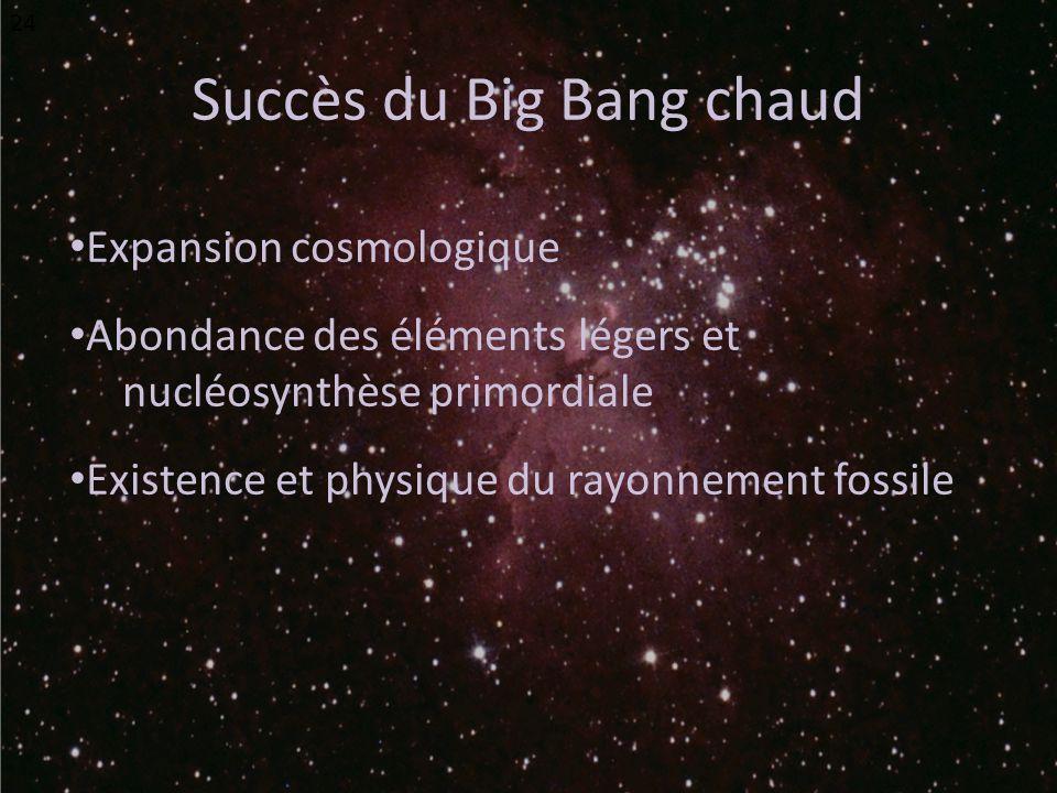 Succès du Big Bang chaud Expansion cosmologique Abondance des éléments légers et nucléosynthèse primordiale Existence et physique du rayonnement fossile 24