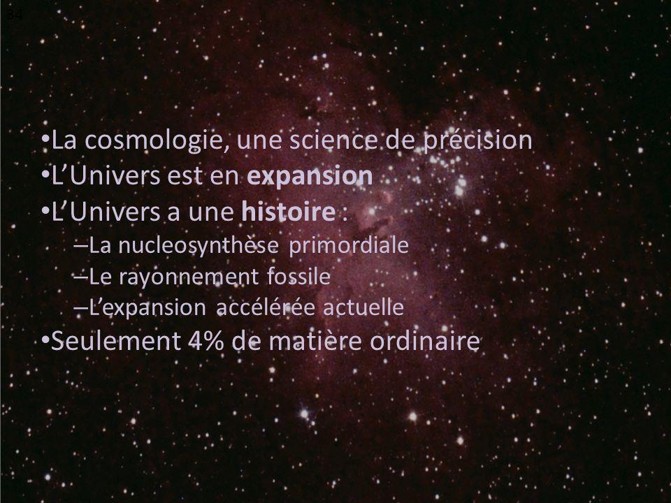 La cosmologie, une science de précision LUnivers est en expansion LUnivers a une histoire : – La nucleosynthèse primordiale – Le rayonnement fossile – Lexpansion accélérée actuelle Seulement 4% de matière ordinaire 34