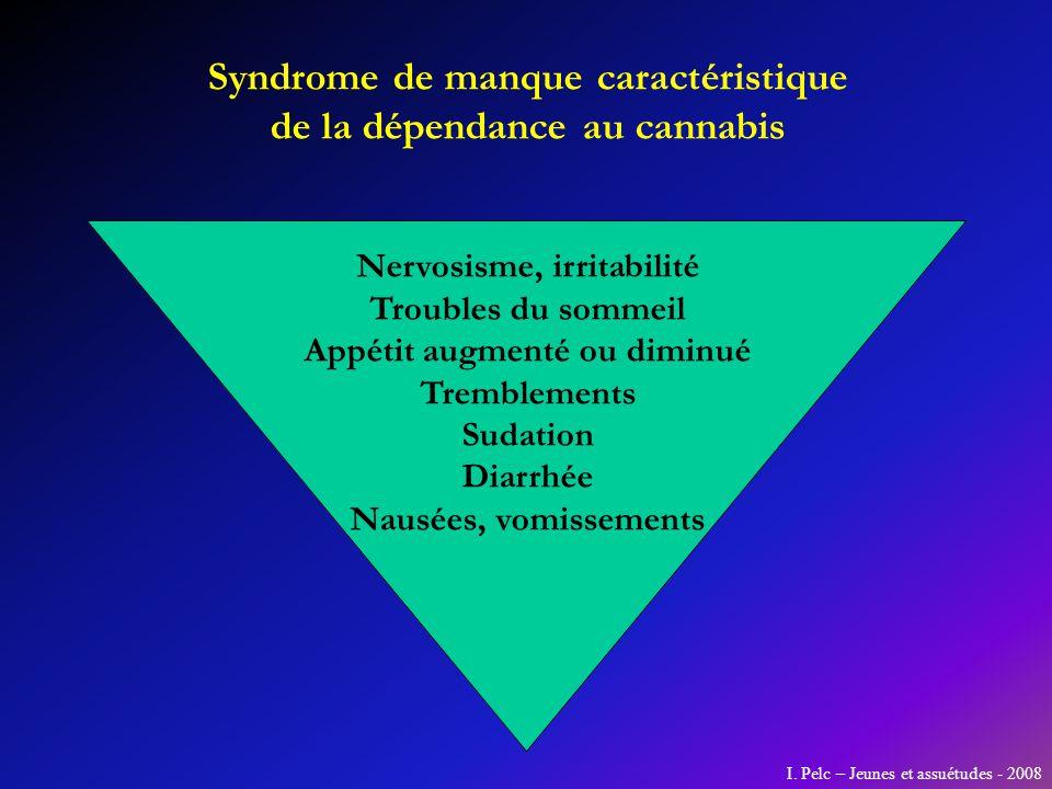 Syndrome de manque caractéristique de la dépendance au cannabis Nervosisme, irritabilité Troubles du sommeil Appétit augmenté ou diminué Tremblements