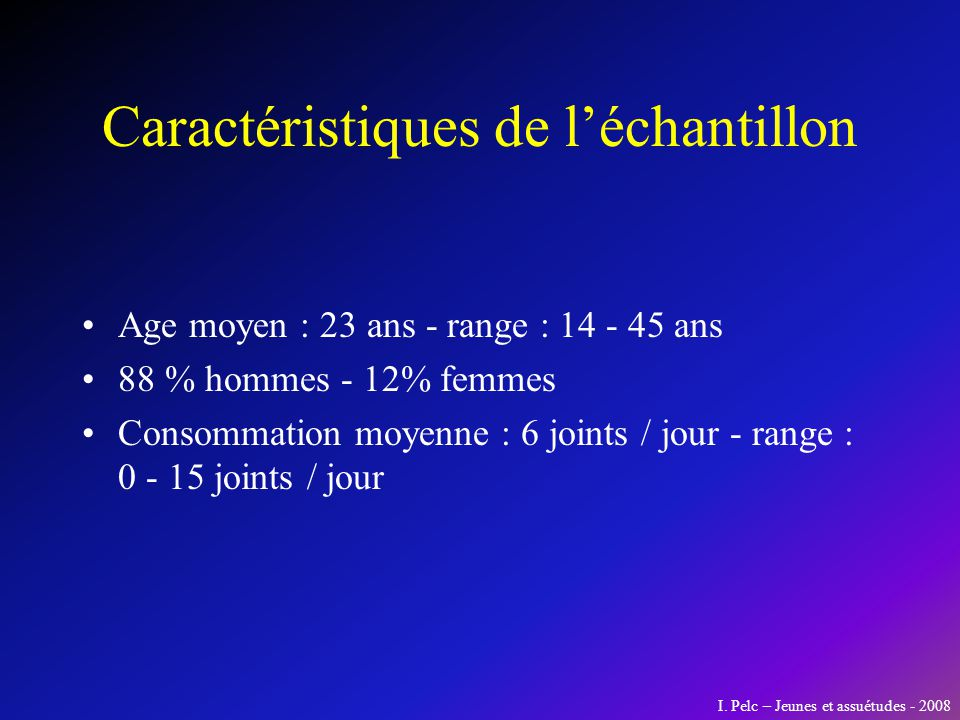 Caractéristiques de léchantillon Age moyen : 23 ans - range : 14 - 45 ans 88 % hommes - 12% femmes Consommation moyenne : 6 joints / jour - range : 0