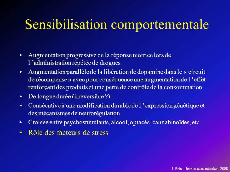 Sensibilisation comportementale Augmentation progressive de la réponse motrice lors de l administration répétée de drogues Augmentation parallèle de l