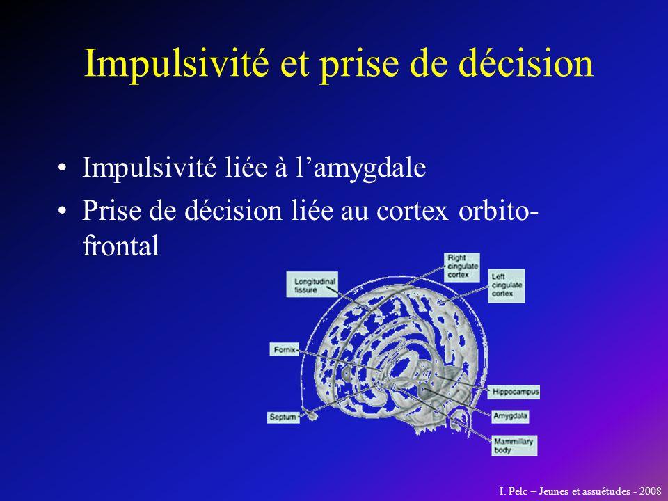 Impulsivité et prise de décision Impulsivité liée à lamygdale Prise de décision liée au cortex orbito- frontal I. Pelc – Jeunes et assuétudes - 2008