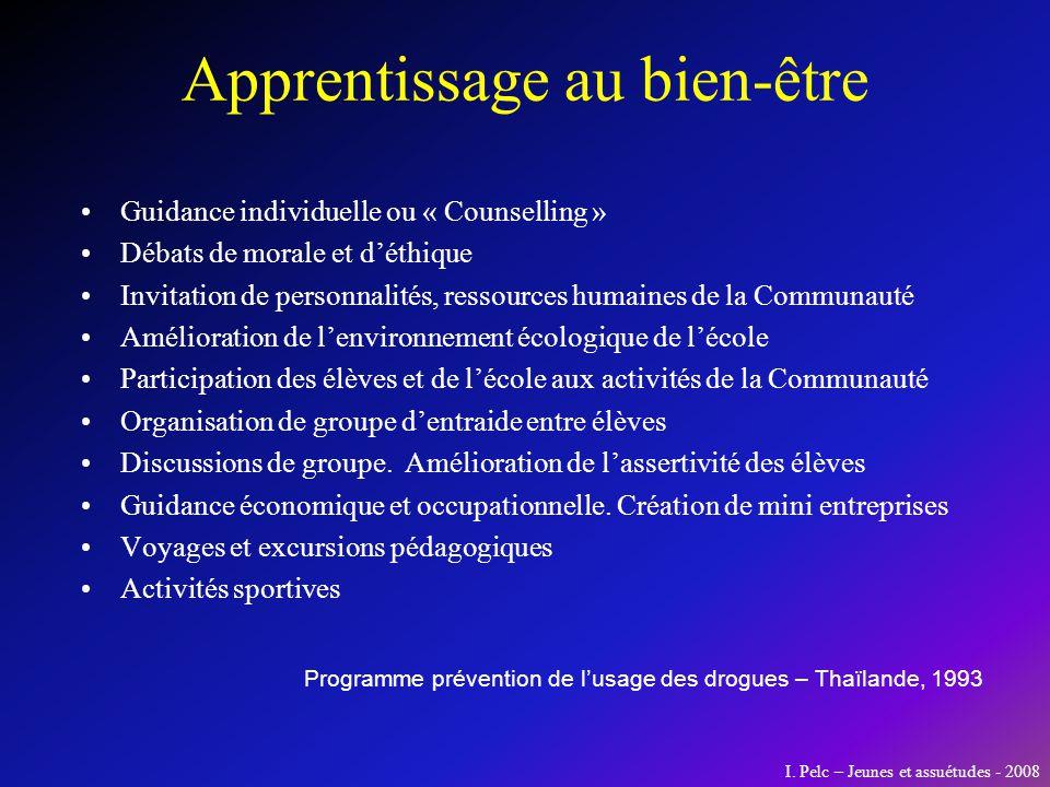 Apprentissage au bien-être Guidance individuelle ou « Counselling » Débats de morale et déthique Invitation de personnalités, ressources humaines de l