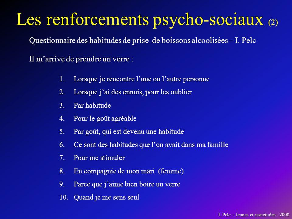 Les renforcements psycho-sociaux (2) Questionnaire des habitudes de prise de boissons alcoolisées – I. Pelc 1.Lorsque je rencontre lune ou lautre pers