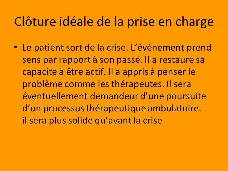 Clôture idéale de la prise en charge Le patient sort de la crise.