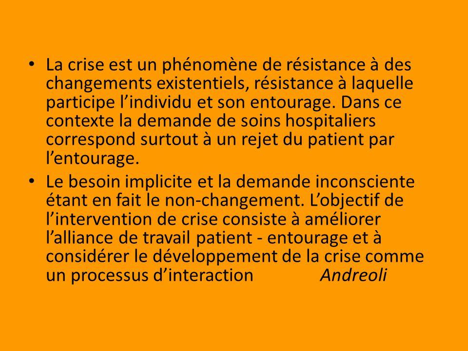 La crise est un phénomène de résistance à des changements existentiels, résistance à laquelle participe lindividu et son entourage.