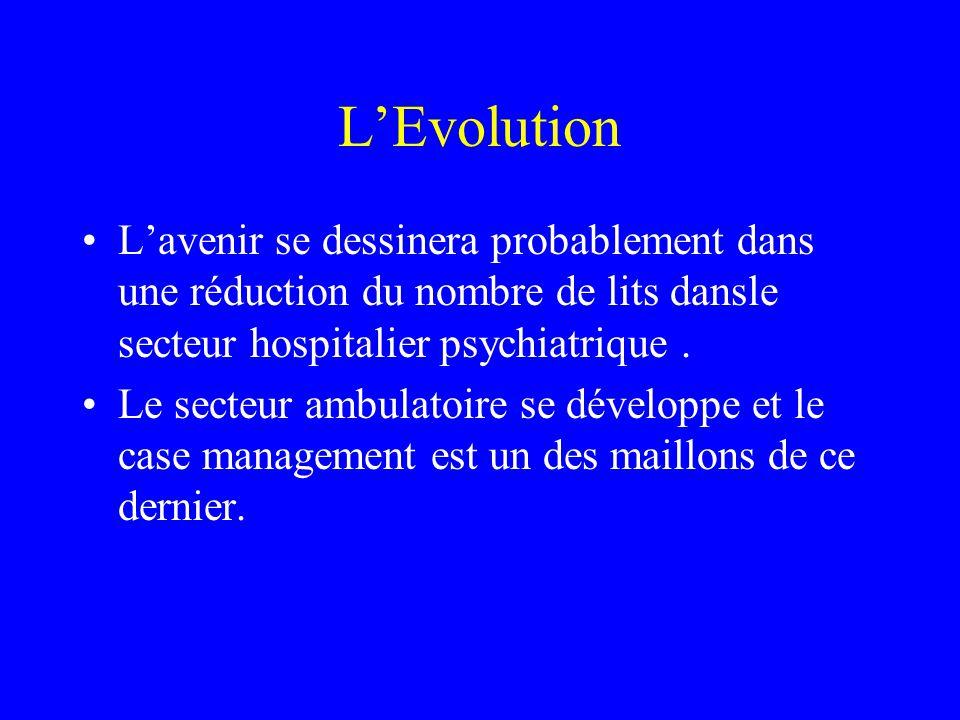 LEvolution Lavenir se dessinera probablement dans une réduction du nombre de lits dansle secteur hospitalier psychiatrique. Le secteur ambulatoire se