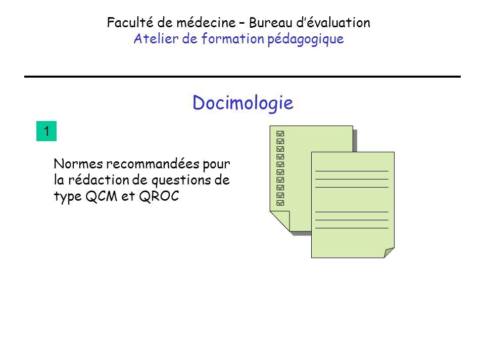 Docimologie Faculté de médecine – Bureau dévaluation Atelier de formation pédagogique Normes recommandées pour la rédaction de questions de type QCM e