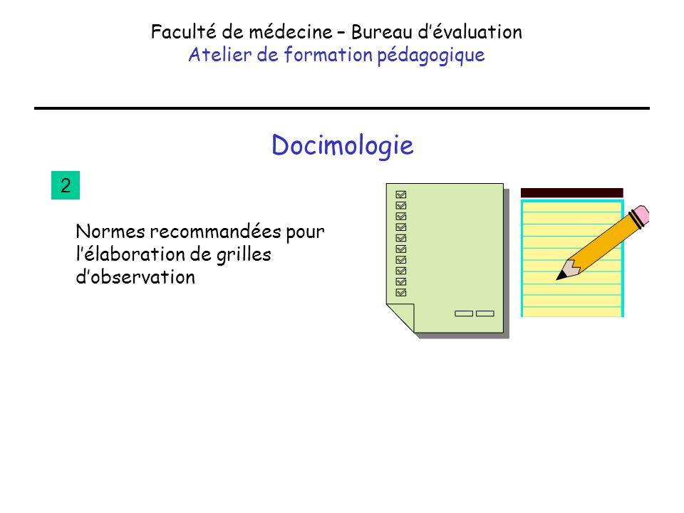 Docimologie Faculté de médecine – Bureau dévaluation Atelier de formation pédagogique Normes recommandées pour lélaboration de grilles dobservation 2