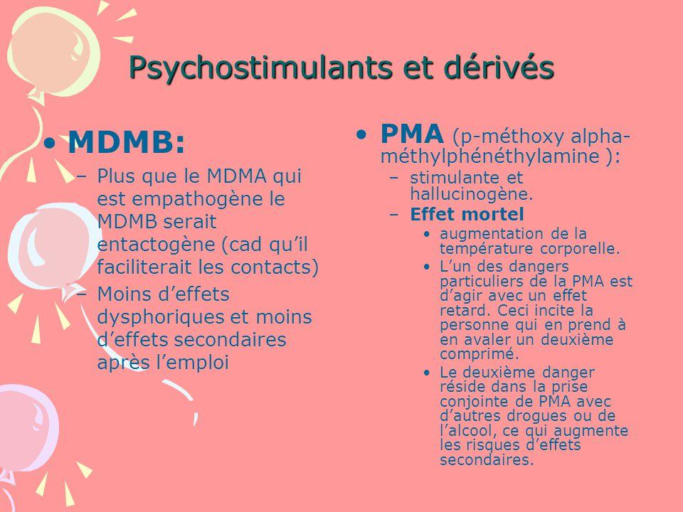 Psychostimulants et dérivés MDMB: –Plus que le MDMA qui est empathogène le MDMB serait entactogène (cad quil faciliterait les contacts) –Moins deffets dysphoriques et moins deffets secondaires après lemploi PMA (p-méthoxy alpha- méthylphénéthylamine ): –stimulante et hallucinogène.