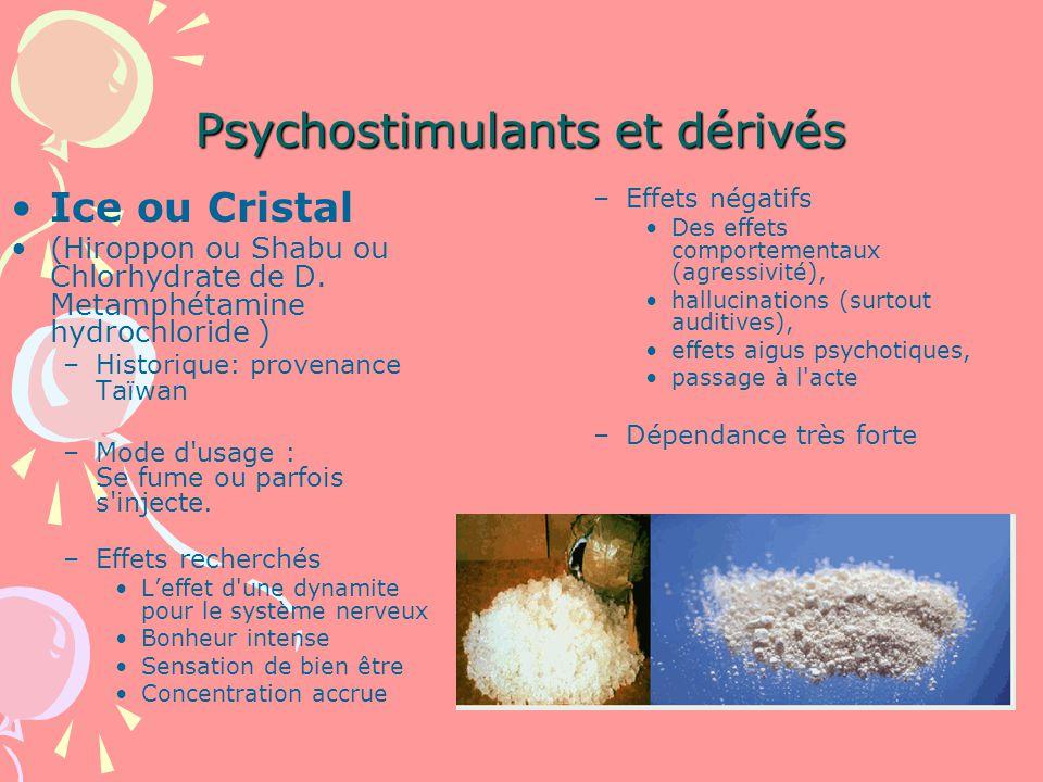 Psychostimulants et dérivés Ice ou Cristal (Hiroppon ou Shabu ou Chlorhydrate de D.