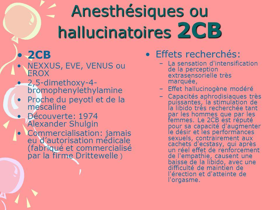Anesthésiques ou hallucinatoires 2CB 2CB NEXXUS, EVE, VENUS ou EROX 2,5-dimethoxy-4- bromophenylethylamine Proche du peyotl et de la mescaline Découverte: 1974 Alexander Shulgin Commercialisation: jamais eu dautorisation médicale (fabriqué et commercialisé par la firme Drittewelle ) Effets recherchés: –La sensation d intensification de la perception extrasensorielle très marquée, –Effet hallucinogène modéré –Capacités aphrodisiaques très puissantes, la stimulation de la libido très recherchée tant par les hommes que par les femmes.