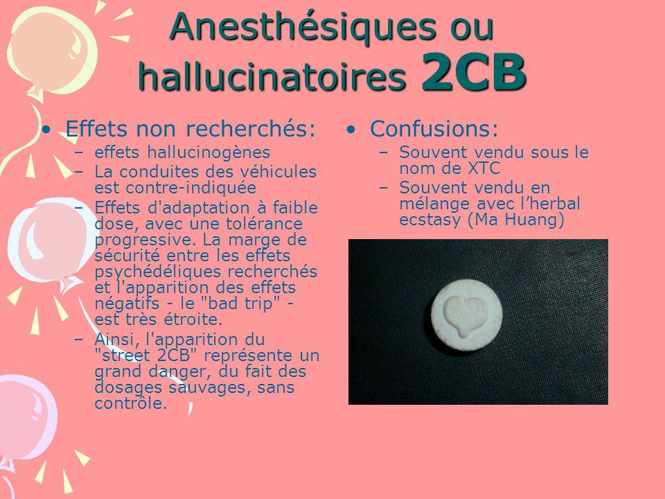 Anesthésiques ou hallucinatoires 2CB Effets non recherchés: –effets hallucinogènes –La conduites des véhicules est contre-indiquée –Effets d adaptation à faible dose, avec une tolérance progressive.