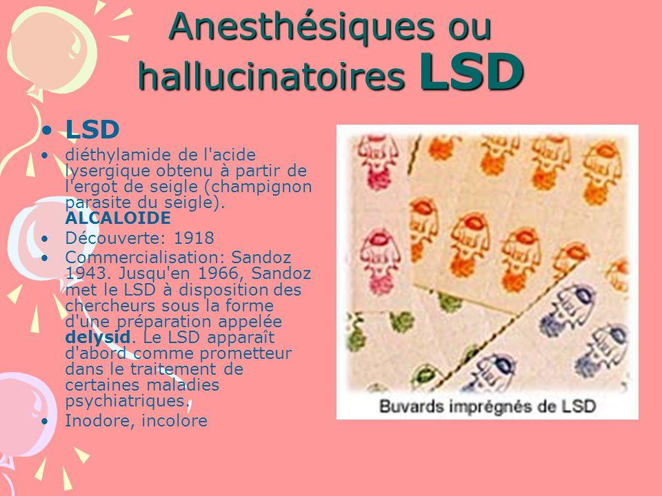 Anesthésiques ou hallucinatoires LSD LSD diéthylamide de l acide lysergique obtenu à partir de l ergot de seigle (champignon parasite du seigle).