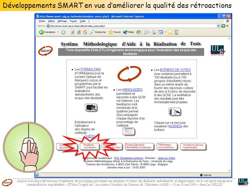 Développements SMART en vue daméliorer la qualité des rétroactions Analyse dun dispositif innovant dingénierie docimologique permettant aux étudiants