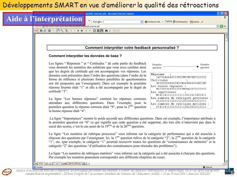 Développements SMART en vue daméliorer la qualité des rétroactions Aide à linterprétation Analyse dun dispositif innovant dingénierie docimologique pe