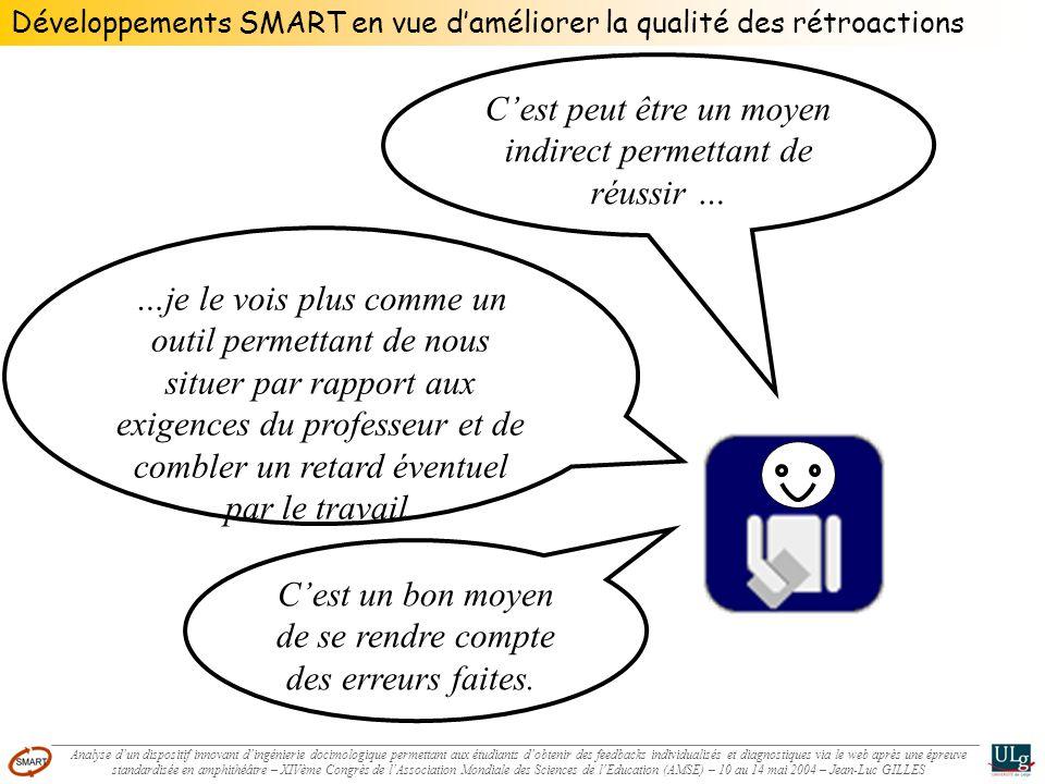 Développements SMART en vue daméliorer la qualité des rétroactions Cest peut être un moyen indirect permettant de réussir … …je le vois plus comme un