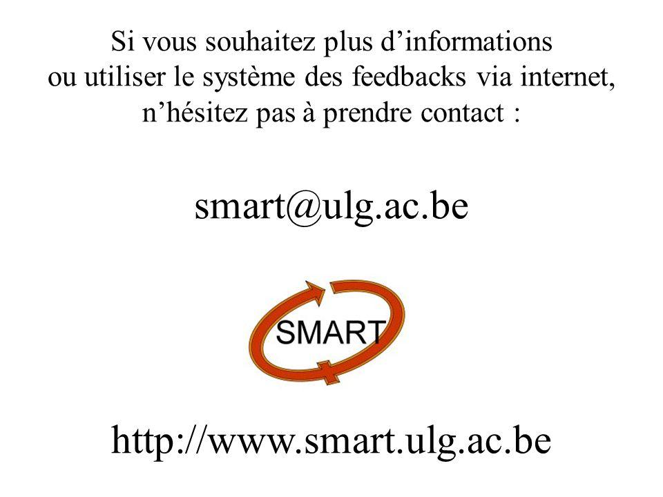 Si vous souhaitez plus dinformations ou utiliser le système des feedbacks via internet, nhésitez pas à prendre contact : smart@ulg.ac.be http://www.sm