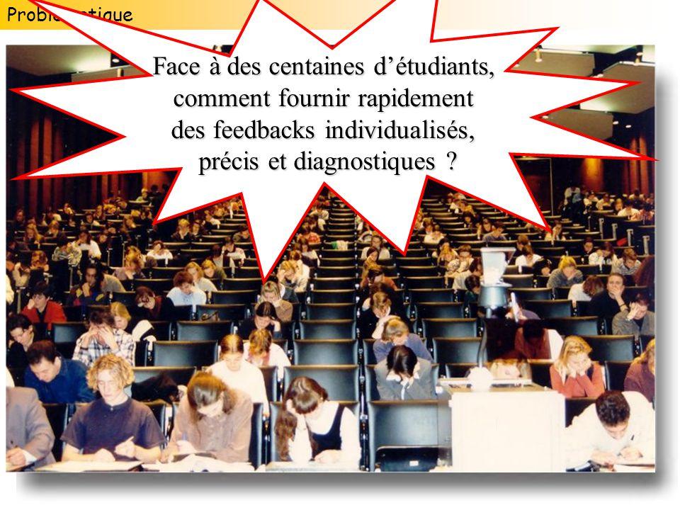 Problématique Face à des centaines détudiants, comment fournir rapidement des feedbacks individualisés, précis et diagnostiques ?