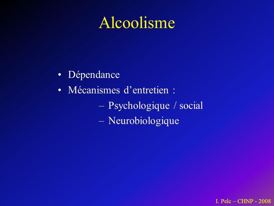 Alcoolisme Dépendance Mécanismes dentretien : – Psychologique / social – Neurobiologique I. Pelc – CHNP - 2008