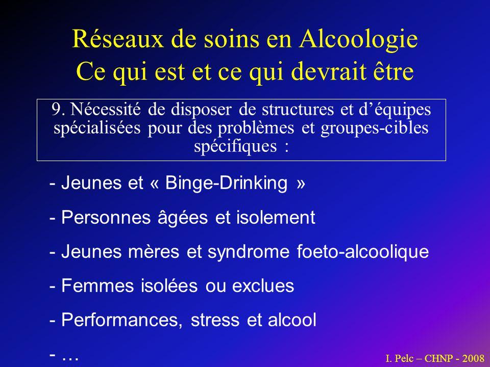 Réseaux de soins en Alcoologie Ce qui est et ce qui devrait être 9. Nécessité de disposer de structures et déquipes spécialisées pour des problèmes et