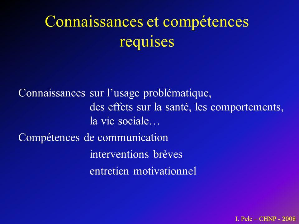 Connaissances et compétences requises Connaissances sur lusage problématique, des effets sur la santé, les comportements, la vie sociale… Compétences